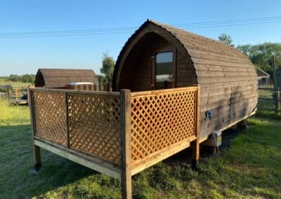 Full exterior view of glamping pod