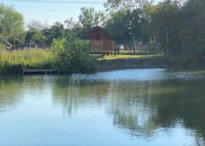 Glamping Pod across the fishing lake