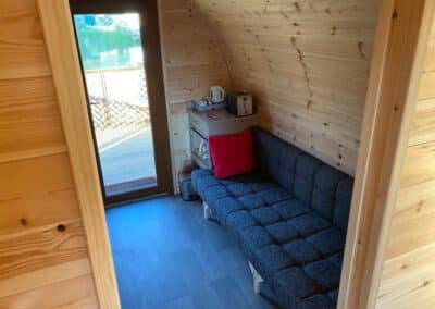 Interior view of glamping pod